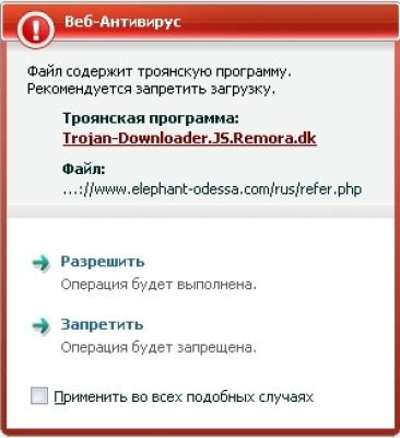 Обнаружение троянской программы Троян Trojan.JS.Redirector.ar.